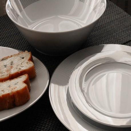 service de table complet, vaisselle en porcelaine blanche galon platine, art de la table de style classique
