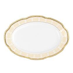 Ravier ovale 24 cm, service de table en porcelaine blanche décorée de galon d'or - Soleil Levant
