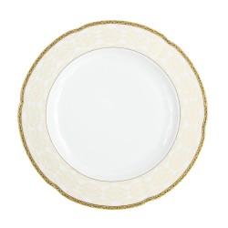Plat rond 32 cm, service de table en porcelaine blanche décorée de galon d'or - Soleil Levant