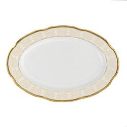 Plat 36 cm ovale en porcelaine - Soleil Levant