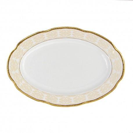Plat ovale 36 cm, service de table en porcelaine blanche décorée de galon d'or - Soleil Levant
