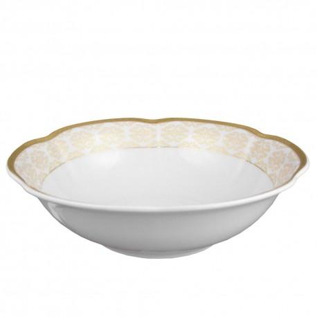 Saladier rond 26 cm, service de table en porcelaine blanche décorée de galon d'or - Soleil Levant