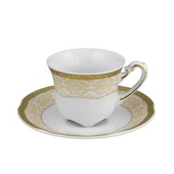 Tasse à café 100 ml avec sa soucoupe, service de table en porcelaine blanche décorée de galon d'or - Soleil Levant