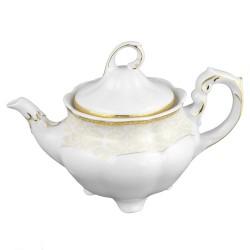 Théière 1100 ml, service de table en porcelaine blanche décorée de galon d'or - Soleil Levant