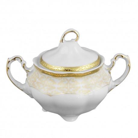 Sucrier 300 ml, service de table en porcelaine blanche décorée de galon d'or - Soleil Levant