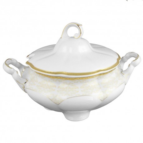 Soupière 2800 ml, service de table en porcelaine blanche décorée de galon d'or - Soleil Levant