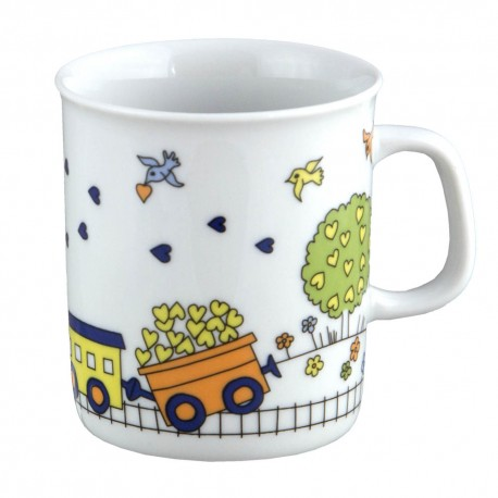 art de la table, set en porcelaine pour enfant, mug 220 ml Tchou Tchou, design train
