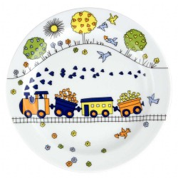 art de la table, service en porcelaine pour enfant, assiette plate 19 cm Tchou Tchou, design train