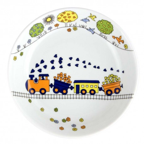 art de la table, service en porcelaine pour enfant, assiette creuse 19 cm Tchou Tchou, design train
