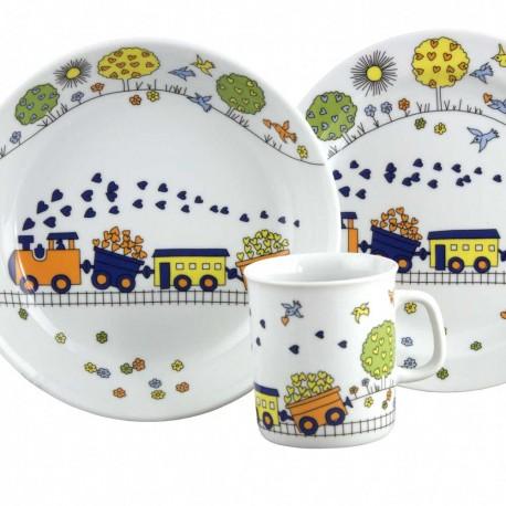 art de la table en porcelaine, set Mug Assiette Plate et Creuse Tchou Tchou dans une boite à fenêtre