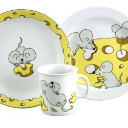 Set Mug Assiette Plate et Creuse Souricette dans une boîte à fenêtre