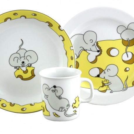 art de la table, set Mug Assiette Plate et Creuse en porcelaine Souricette, dans une boîte à fenêtre