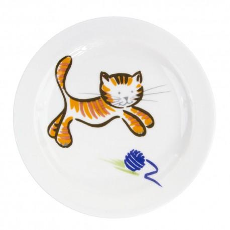 art de la table, service en porcelaine pour enfant, assiette plate 19 cm en porcelaine Chat Joueur motif chat