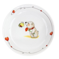 Assiette creuse 19 cm Coeur de Marie en porcelaine