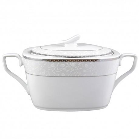 art de la table, service de table complet, vaisselle en porcelaine, soupière 3000 ml Bosquet Argenté en porcelaine