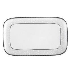 Plat rectangulaire 34 cm Bosquet Argenté en porcelaine