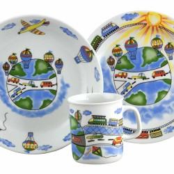 art de la table en porcelaine, set Mug Assiette Plate et Creuse Bleuet dans une boite à fenêtre