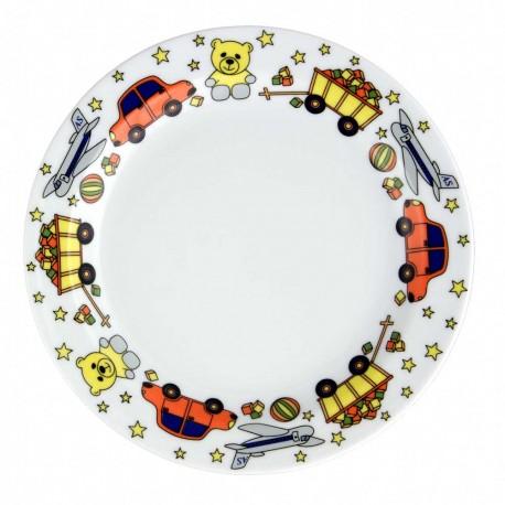 art de la table, set en porcelaine pour enfant, assiette plate 19 cm en porcelaine Souvenirs d'enfance, motif voiture nounours