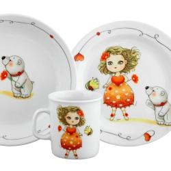 Set Mug Assiette Plate et Creuse Coeur Marie dans une boîte à fenêtre