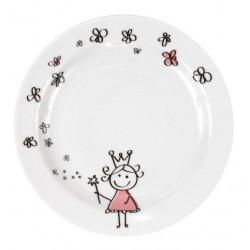 Assiette plate 19 cm Dessines moi une petite fille en porcelaine