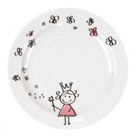 Assiette plate 19 cm Dessines moi une petite fille en porcelaine, assiette enfant