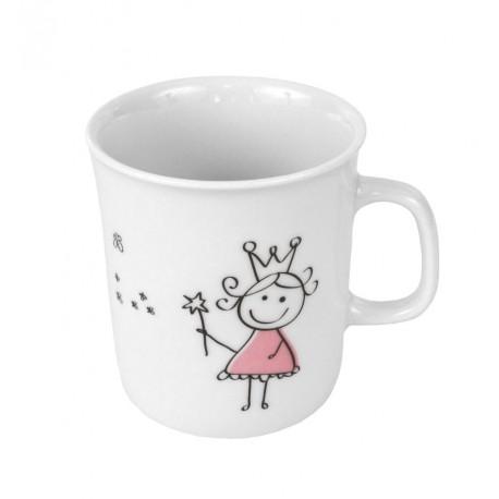 Mug 220 ml Dessines moi une petite fille en porcelaine, art de la table, porcelaine