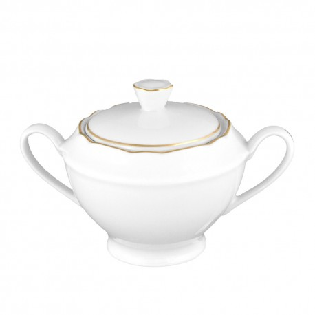 art de la table, service de table complet en porcelaine blanche, vaisselle galon or, sucrier en porcelaine