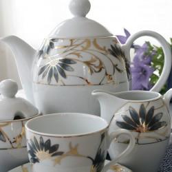 Service à thé 15 pcs en porcelaine fine blanche décorée Pétale Bleuté