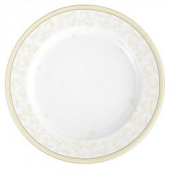 Plat rond à aile 32 cm en porcelaine Douce Nostalgie, art de la table, service luxe avec liserer or