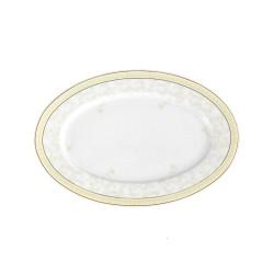 Ravier 23 cm en porcelaine Douce Nostalgie, plat appero luxe, décoration or sur plat