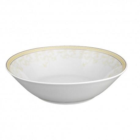 Saladier rond 23 cm en porcelaine Douce Nostalgie, saladier luxe or, décoration doré