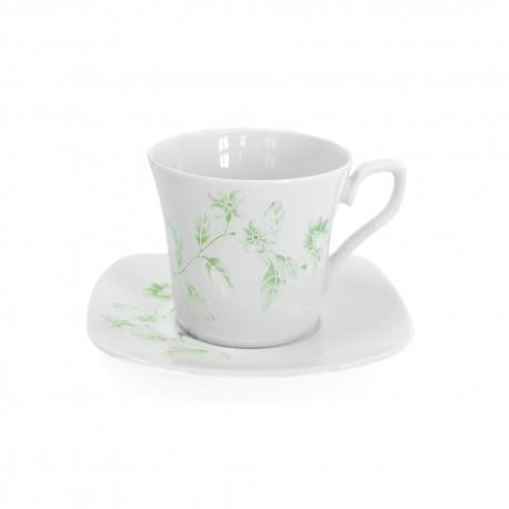 Tasse à thé 220 ml avec soucoupe Solanum en porcelaine