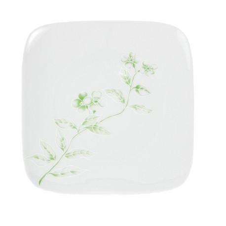 Assiette plate carrée 25 cm Solanum en porcelaine