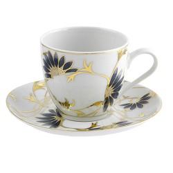 Tasse à thé 200 ml avec soucoupe Pétale Bleuté en porcelaine