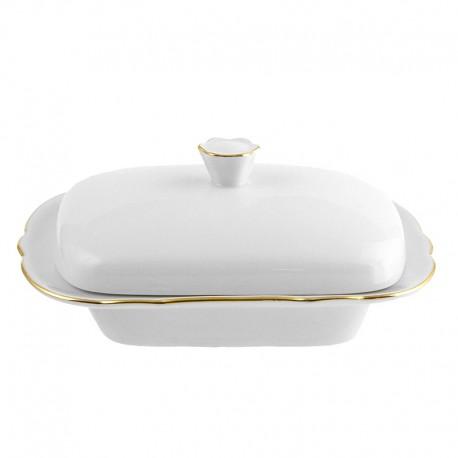 Beurrier rectangulaire avec couvercle en porcelaine avec galon or Gracieuse Innocence