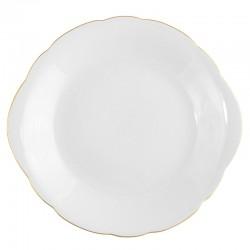 Assiette à gâteaux 27 cm plate en porcelaine blanche avec galon or Gracieuse Innocence