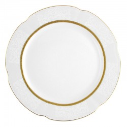 Assiette 27 cm ronde plate en porcelaine - Or romanesque
