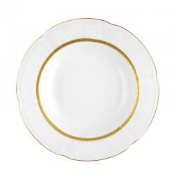 Assiette 22,5 cm ronde creuse en porcelaine - Or Romaneque
