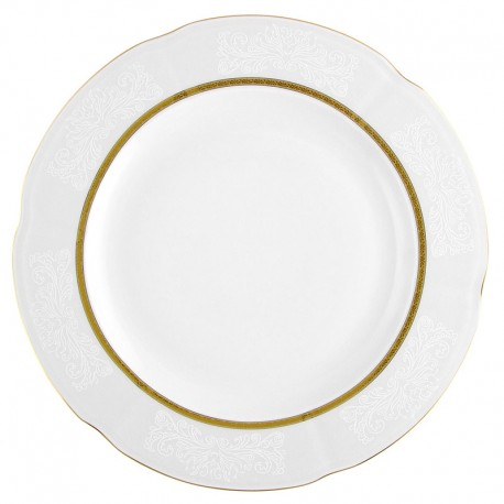 Plat 32 cm rond en porcelaine - Or Romanesque