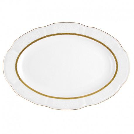 Plat 36 cm ovale en porcelaine - Or Romanesque