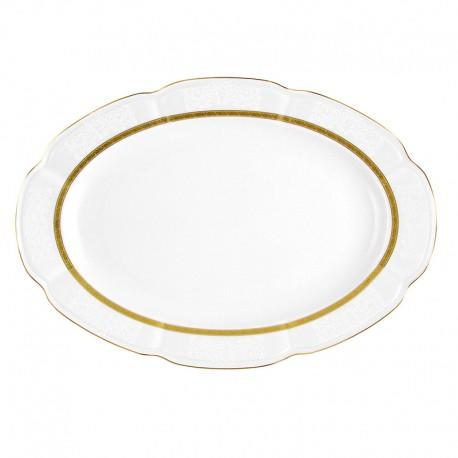 Plat 33 cm ovale en porcelaine blanche - Or Romanesque