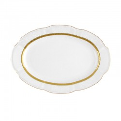 Ravier 24 cm ovale en porcelaine blanche - Or Romanesque