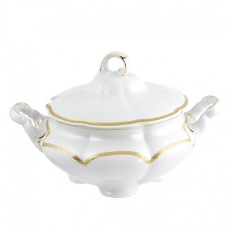 Soupière 2800 ml en porcelaine blanche - Or Romanesque