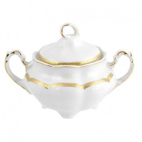 Sucrier 300 ml en porcelaine blanche décorée Or Romanesque