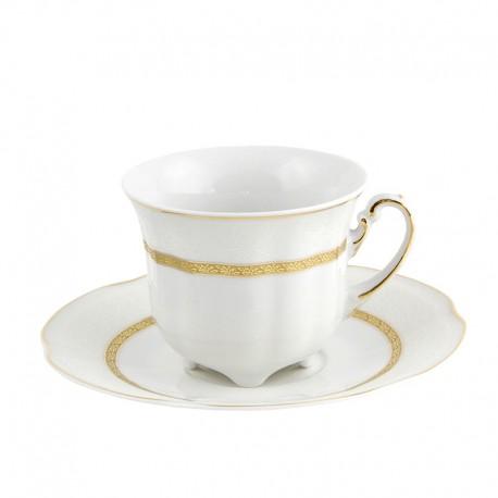 Tasse à thé 230 ml blanche décorée avec sa soucoupe Or Romanesque