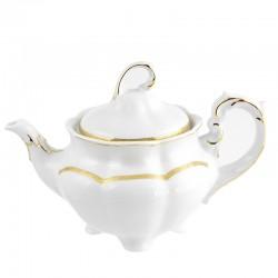 Théière 1100 ml en porcelaine blanche décorée Or Romanesque