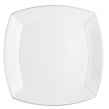 Plat carré 32 cm Nuage aux liserés dorés en porcelaine