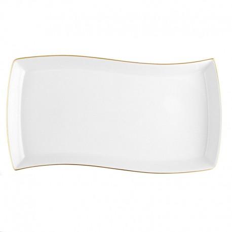 Plat rectangulaire 35 cm Nuage aux liserés dorés en porcelaine blanche