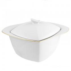 Soupière 3 litres Nuage aux liserés dorés en porcelaine blanche