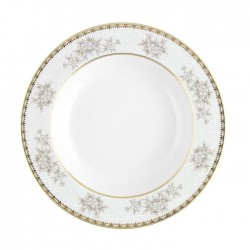 Assiette creuse à aile 22 cm Pensée Bucolique en porcelaine blanche décoration galon or